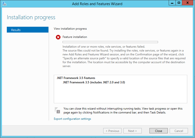 Windows Server .NET Framework 3.5 Install Error
